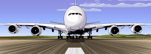 aeroplane on runway taking off