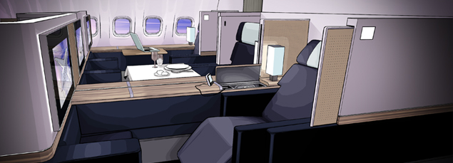 view of first class on an aeroplane
