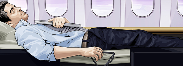 business man sleeping on a plane