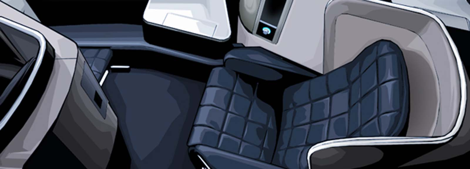 square patterned seat in first class