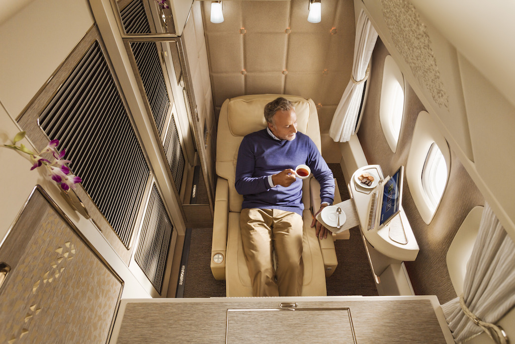 Emirates First Class zero gravity position