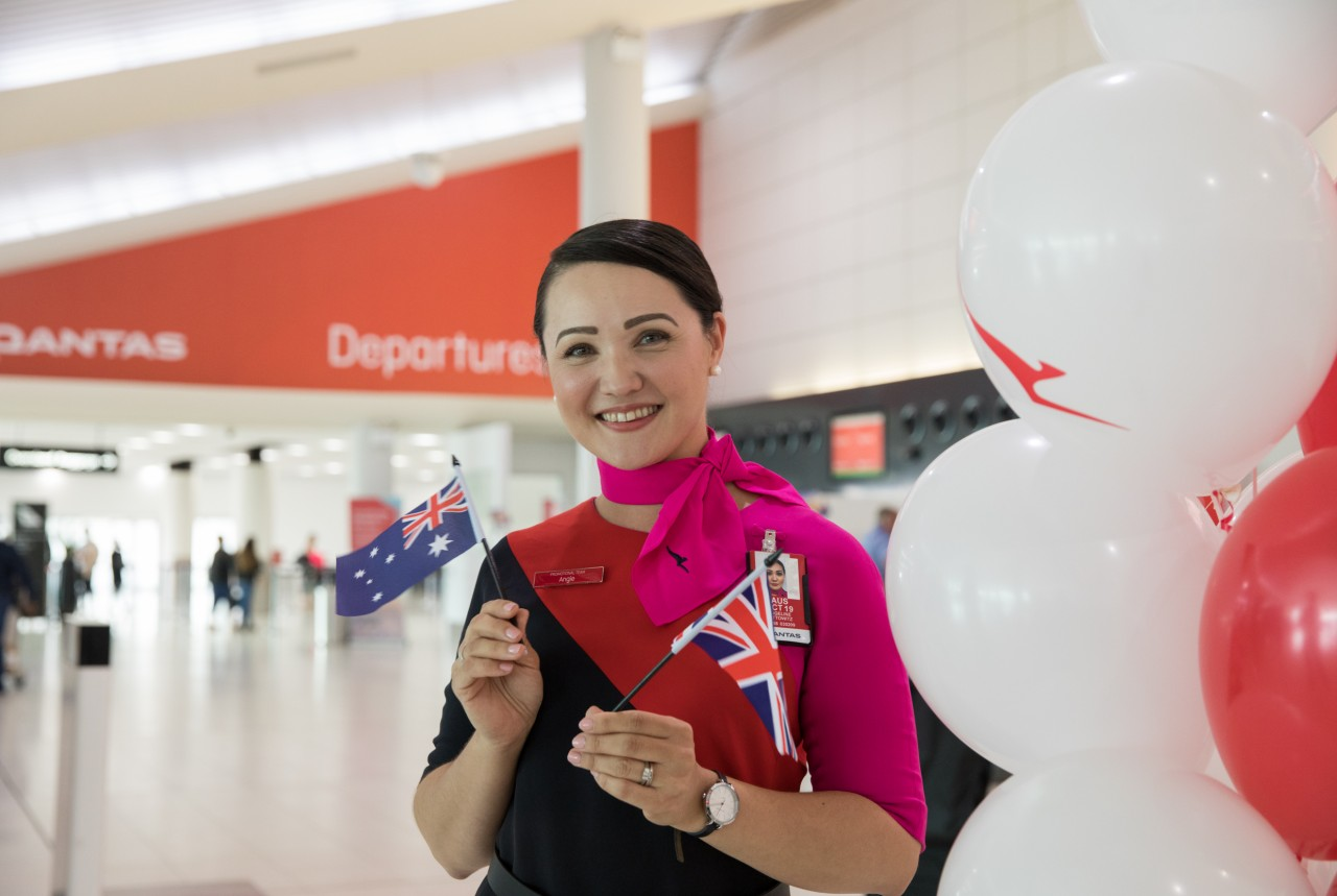 Qantas London to Australia inaugural flight
