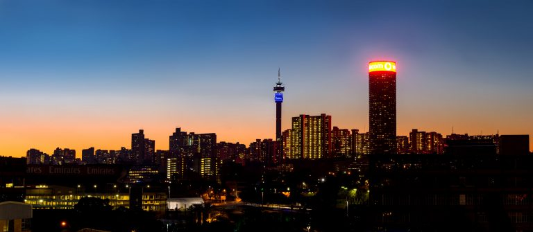 Business Class Flights to Johannesburg - skyline at night