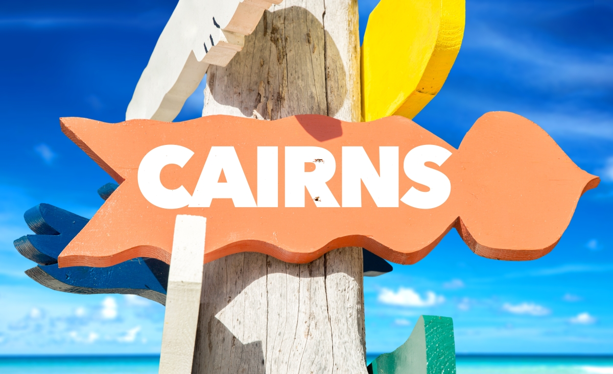 Business class flights to Cairns, sign-post to the location
