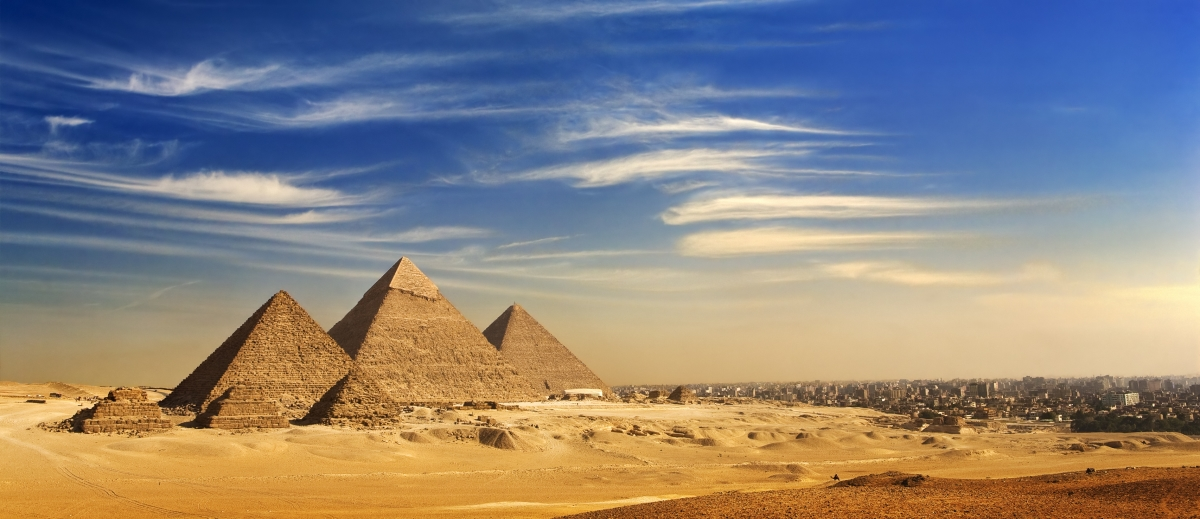 View of pyramids and cityscape from the Giza Plateau